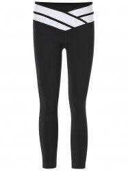 Sporty Color Block Slimming Capri Pants For Women - BLACK
