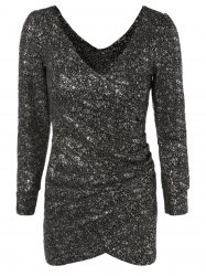 Short Sequin Glitter Club Dress with Long Sleeves - SILVER AND BLACK