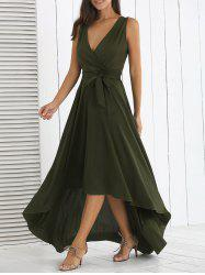 Surplice High Low Long Prom Swing Dress - BLACKISH GREEN