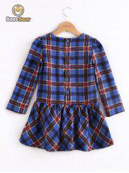 Long Sleeve Button Design Plaid Mini Dress -