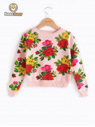 Long Sleeve Floral Print Pullover Sweater -