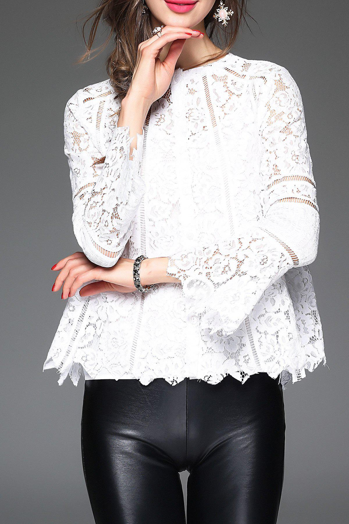 Fashion Lace Scalloped Blouse With Cami Tank Top