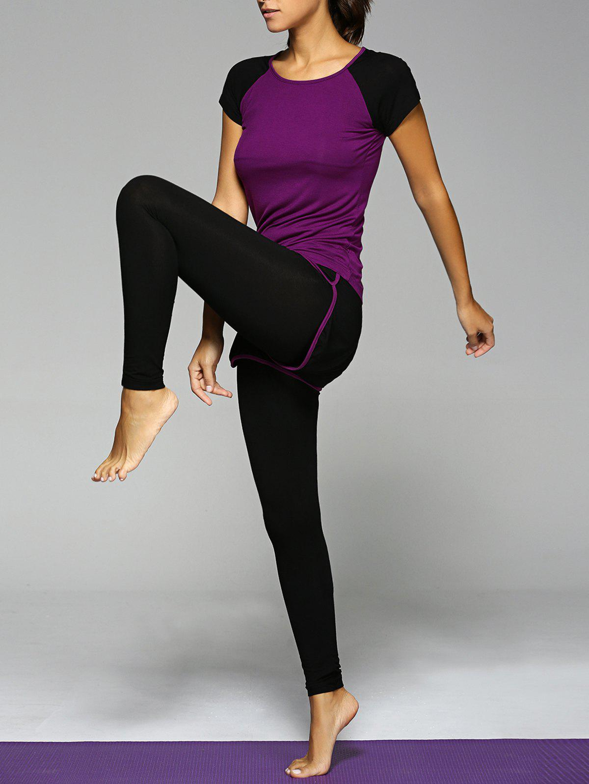 Scoop Neck Top et Bicolor Leggings Suit Pourpre  L