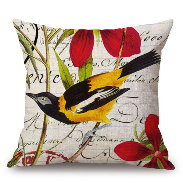Trendy Country Style Bird and Flower Cushion Cover Pillow Case