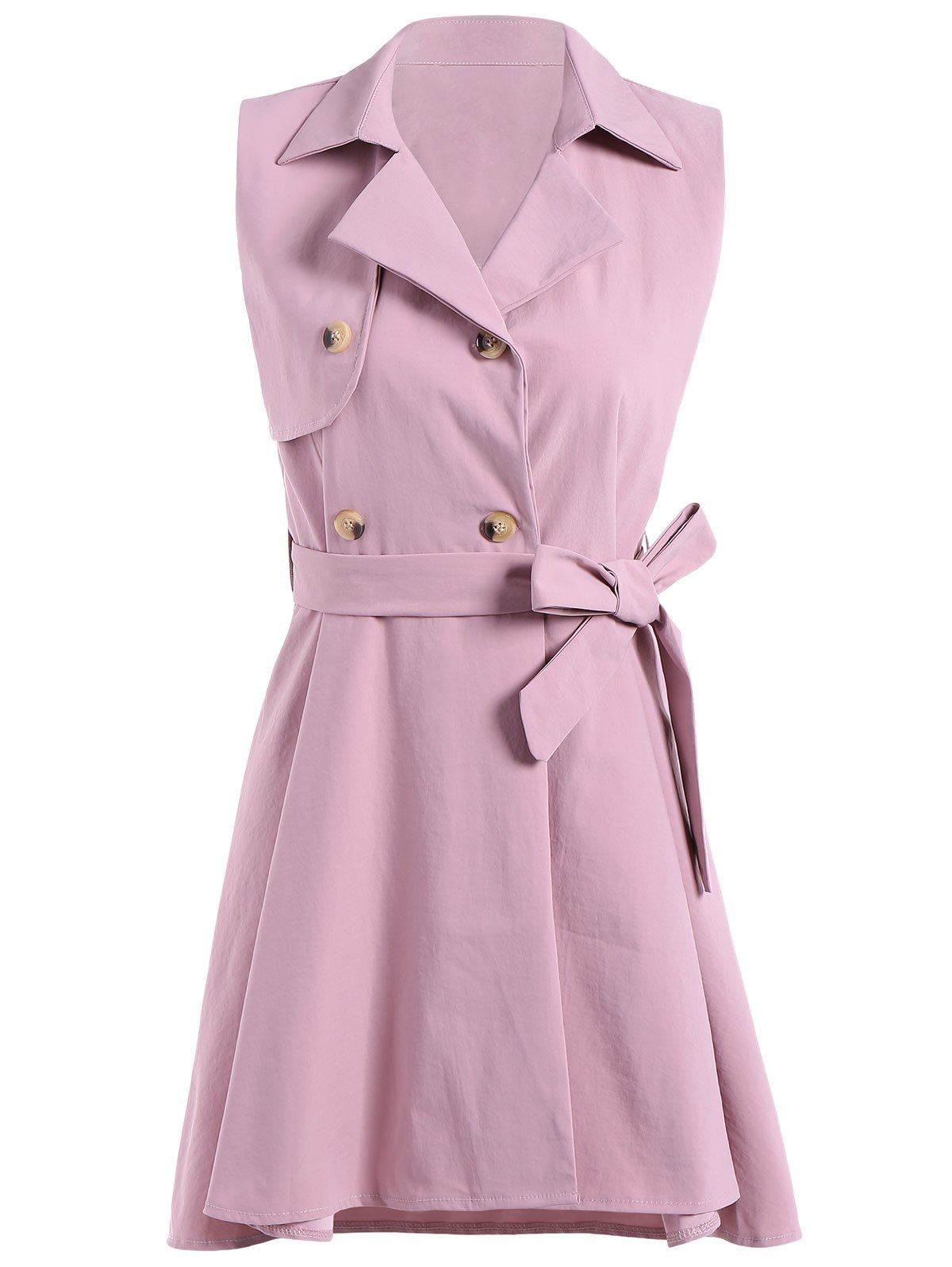 Online Sleeveless Double-Breasted Dovetail Trench Dress