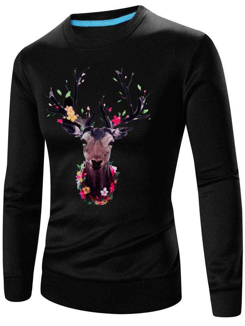 Buy 3D Elk Print Crew Neck Long Sleeve Sweatshirt