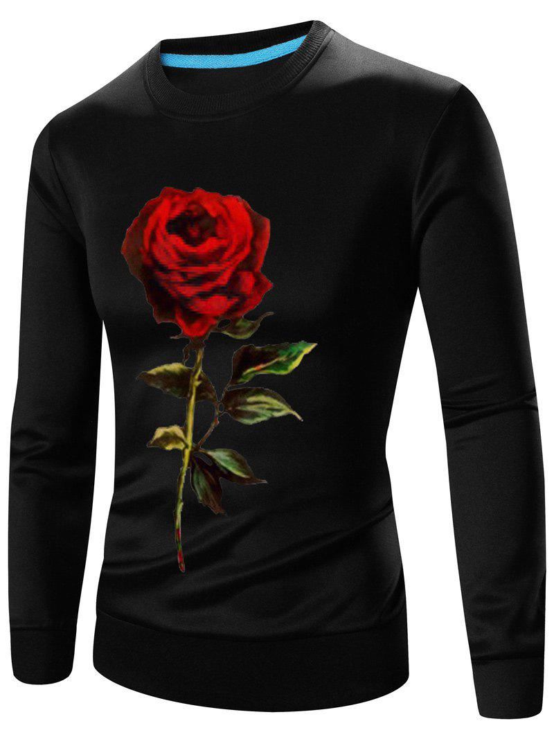 Best 3D Rose Print Crew Neck Long Sleeve Sweatshirt