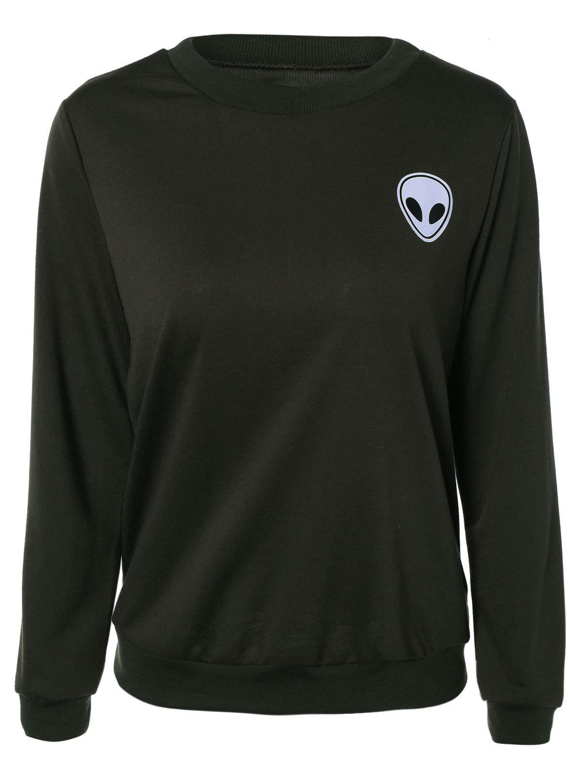 Store Skull Print Long Sleeve Sweatshirt