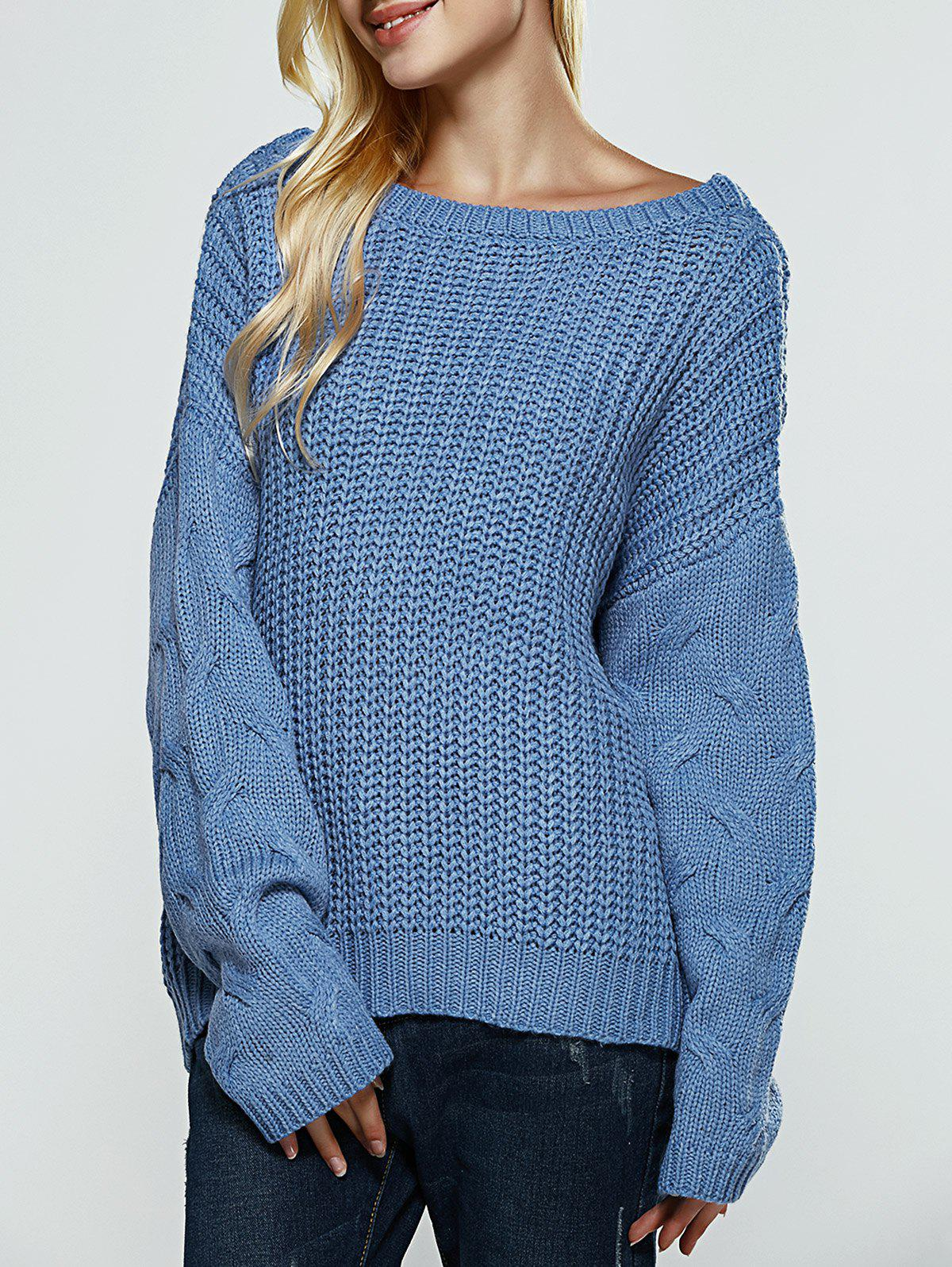 Chic Textured Slit Open Back Sweater