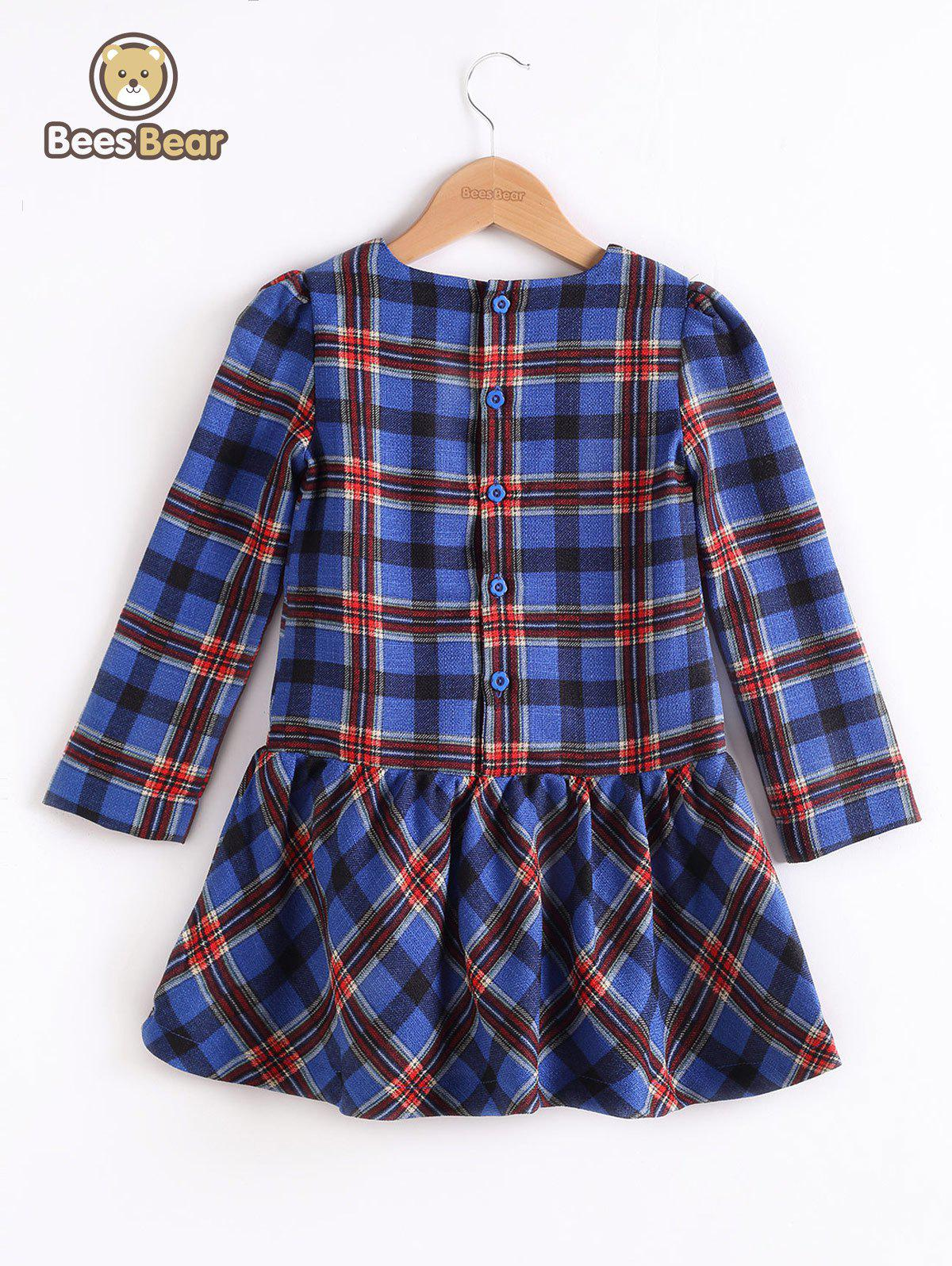 Fancy Long Sleeve Button Design Plaid Mini Dress
