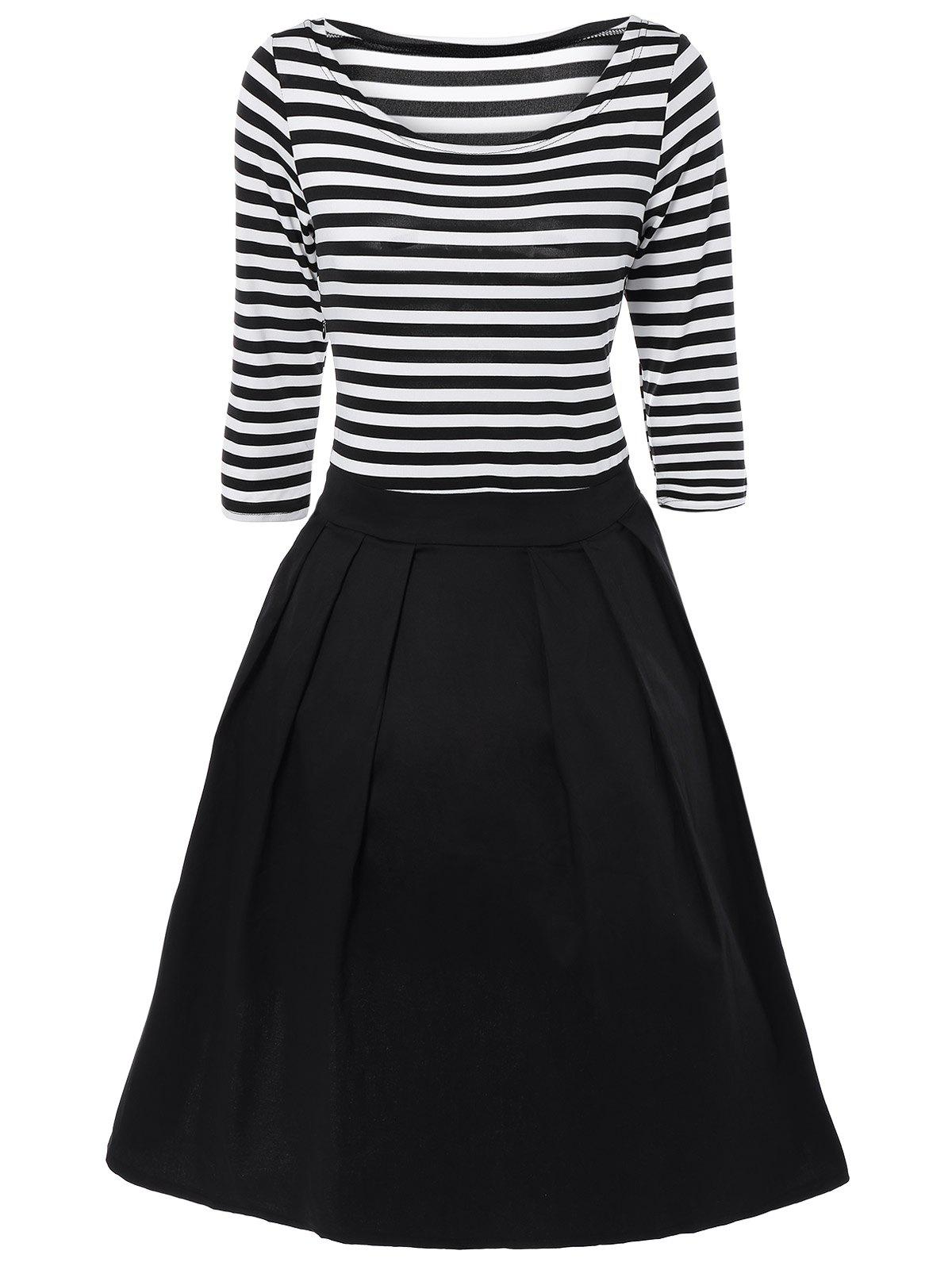 Buy Striped Pleated A Line Dress