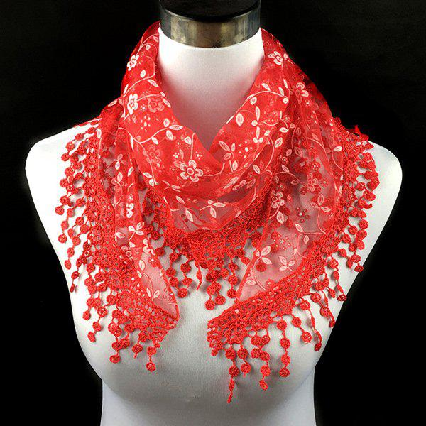 Casual Wintersweet Embroidery Tassel Triangle Trim Lace ScarfACCESSORIES<br><br>Color: RED; Scarf Type: Scarf; Group: Adult; Gender: For Women; Style: Fashion; Material: Polyester; Season: Fall,Spring,Summer; Scarf Length: 145CM; Scarf Width (CM): 40CM; Weight: 0.056kg; Package Contents: 1 x Scarf;