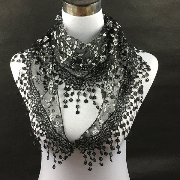 Casual Wintersweet Embroidery Tassel Triangle Trim Lace ScarfACCESSORIES<br><br>Color: BLACK; Scarf Type: Scarf; Group: Adult; Gender: For Women; Style: Fashion; Material: Polyester; Season: Fall,Spring,Summer; Scarf Length: 145CM; Scarf Width (CM): 40CM; Weight: 0.056kg; Package Contents: 1 x Scarf;