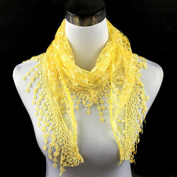 Casual Wintersweet Embroidery Tassel Triangle Trim Lace ScarfACCESSORIES<br><br>Color: YELLOW; Scarf Type: Scarf; Group: Adult; Gender: For Women; Style: Fashion; Material: Polyester; Season: Fall,Spring,Summer; Scarf Length: 145CM; Scarf Width (CM): 40CM; Weight: 0.056kg; Package Contents: 1 x Scarf;