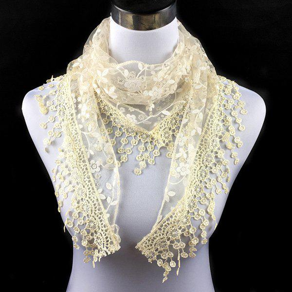 Casual Wintersweet Embroidery Tassel Triangle Trim Lace ScarfACCESSORIES<br><br>Color: BEIGE; Scarf Type: Scarf; Group: Adult; Gender: For Women; Style: Fashion; Material: Polyester; Season: Fall,Spring,Summer; Scarf Length: 145CM; Scarf Width (CM): 40CM; Weight: 0.056kg; Package Contents: 1 x Scarf;