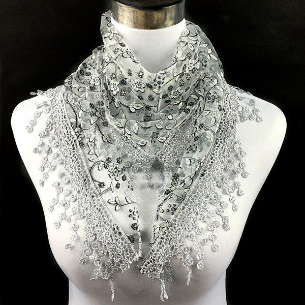 Casual Wintersweet Embroidery Tassel Triangle Trim Lace ScarfACCESSORIES<br><br>Color: LIGHT GRAY; Scarf Type: Scarf; Group: Adult; Gender: For Women; Style: Fashion; Material: Polyester; Season: Fall,Spring,Summer; Scarf Length: 145CM; Scarf Width (CM): 40CM; Weight: 0.056kg; Package Contents: 1 x Scarf;