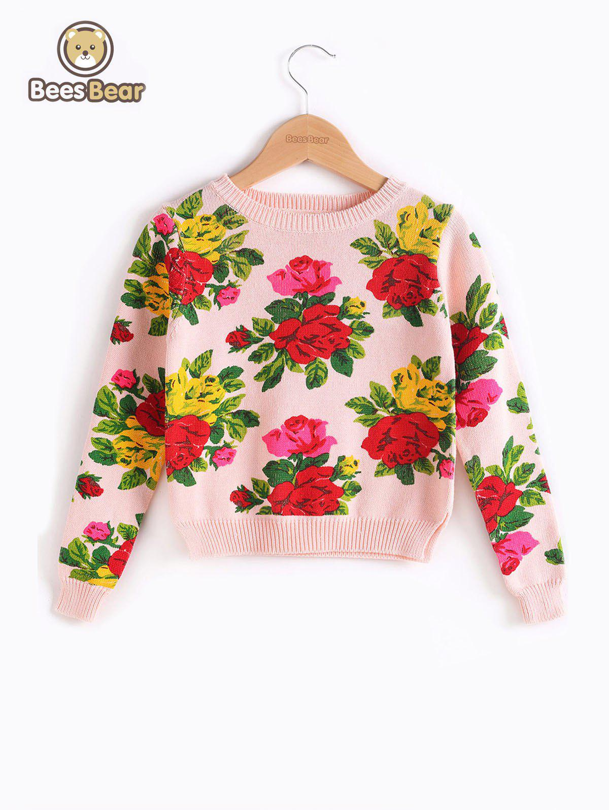 Affordable Long Sleeve Floral Print Pullover Sweater