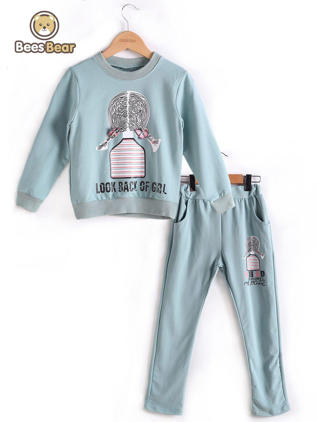 Unique Long Sleeve Cartoon Girl Print Sweatshirt + Pants