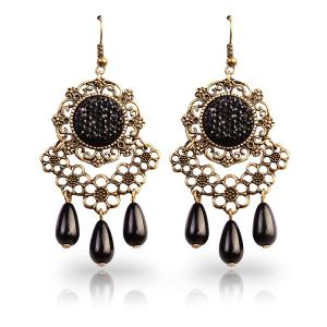 Floral Rhinestone Teardrop Earrings