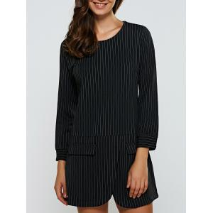 Striped Zipper Design Slimming Dress - Black - L