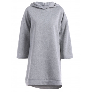 Loose Fitting High Low Fleece Hooded Dress - Gray - S