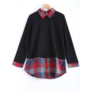 Plaid Long Sleeve A Line Sweater