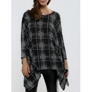 Batwing Sleeve Asymmetrical Plaid Loose-Fitting Knitwear - Black - One Size