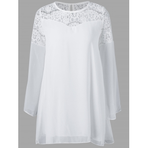 Lace Splicing Chiffon Blouse