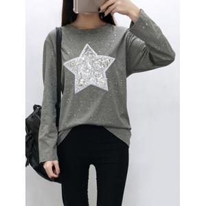 Star Sequins Long Sleeve Sparkly T-Shirt