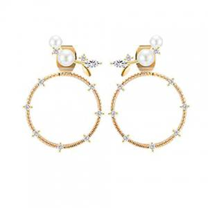 Pair of Faux Pearl Circle Ear Jackets