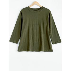 Plus Size Mock Neck Long Sleeve T-Shirt - Army Green - 4xl