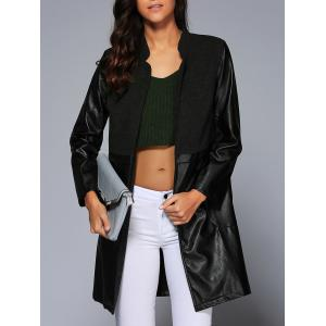 Plus Size Pocket Faux Lether Spliced Long Coat
