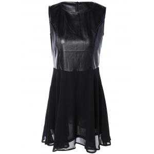 Chiffon Spliced PU Leather High Waist Dress - Black - S