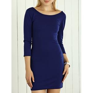 Slimming Hollow Out Bodycon Dress - Deep Blue - S