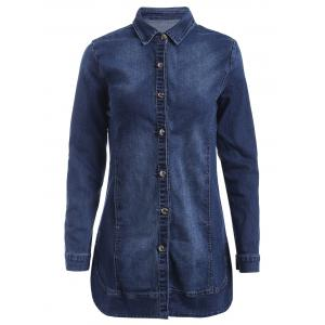 Long Sleeves Buttoned Denim Coat