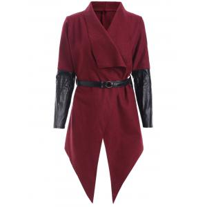 Irregular PU Patchwork Belted Felt Wrap Coat