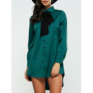 High Low Bow Neck Shirt Dress - Blackish Green - S