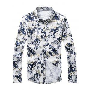 3D Flower Printed Plus Size Turn-Down Collar Long Sleeve Shirt