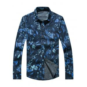 Flower Print Plus Size Long Sleeve Jean Shirt - Blue - L