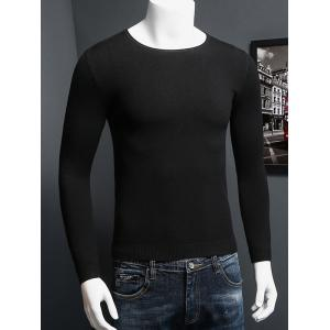 Plus Size Round Neck Long Sleeve Knitted Sweater - Black - 4xl