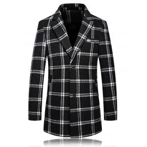 Checked Plus Size Turn-Down Collar Long Sleeve Single-Breasted Coat - White And Black - L