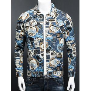 Stamp Print Plus Size Turn-Down Collar Long Sleeve Denim Jacket - Colormix - L