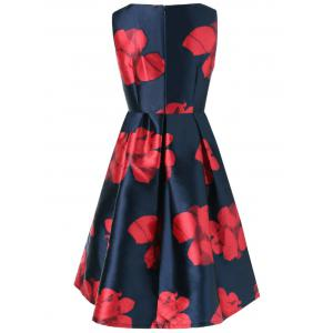 Floral Fit and Flare Vintage Dress - PURPLISH BLUE L