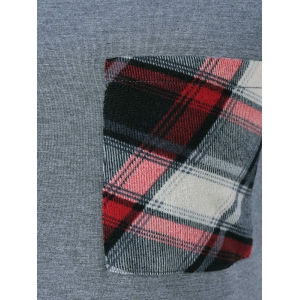 Single Pocket Plaid Full Sleeve T-Shirt - GRAY M