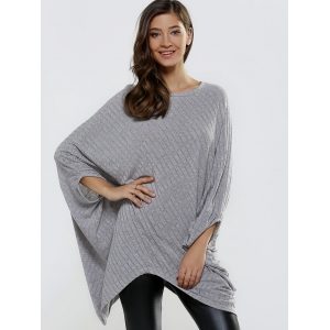 Batwing Sleeve Ribbed Asymmetrical Loose-Fitting Knitwear -