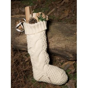 Casual Flanging Hemp Flowers Knitted Christmas Supplies Decorative Sock - White - L
