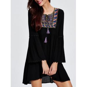 Bell Sleeve Ethnic Print Tassel Casual Mini Dress - BLACK 2XL