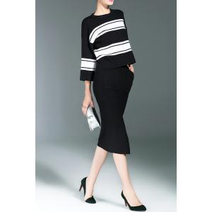 Striped Sweater and Slit Midi Bodycon Skirt - BLACK ONE SIZE(FIT SIZE XS TO M)