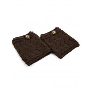 Casual Button Letter W Shape Knitted Boot Cuffs - CHOCOLATE
