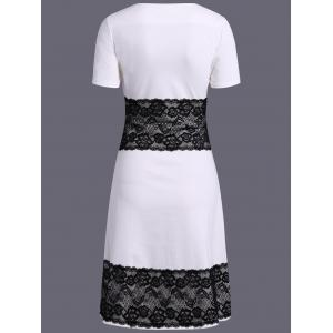 Color Block Lace Spliced Pencil Dress -